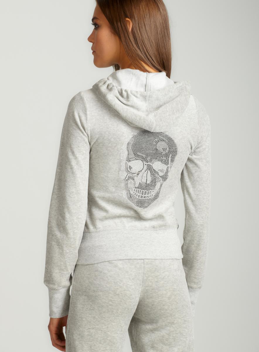 Romeo & Juliet Skull Velour Hoodie In Grey