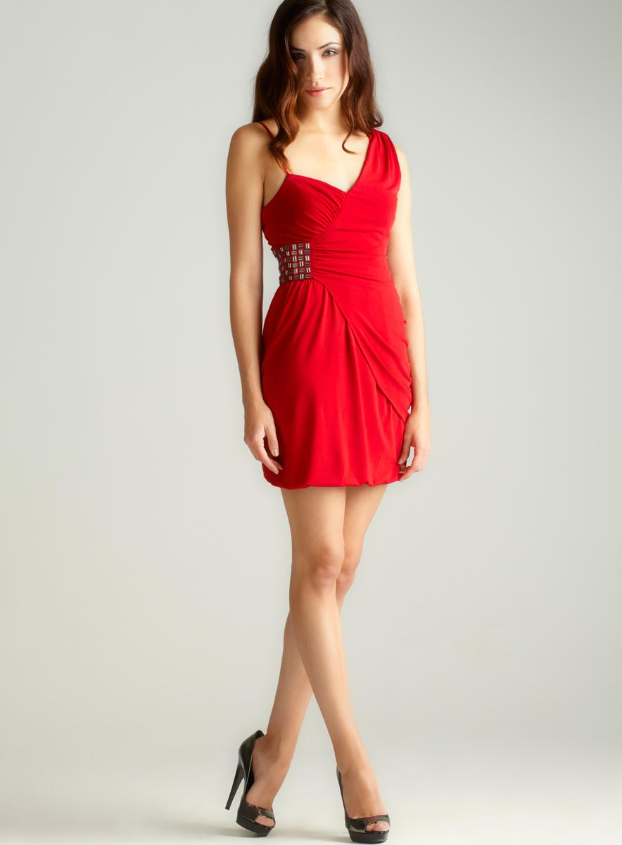 Laundry Asymmetrical Shirr Bead Dress