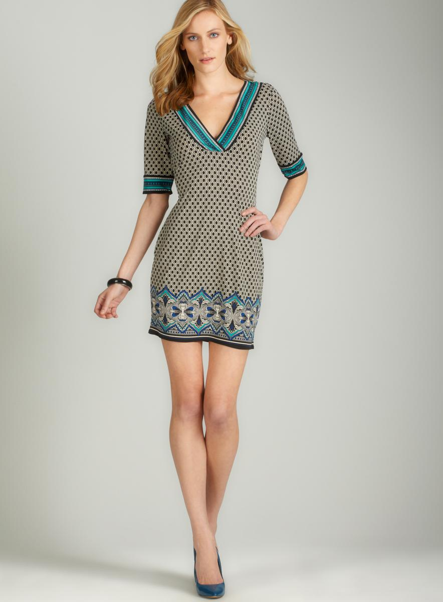 Max Studio Print Split Neck Jersey Dress