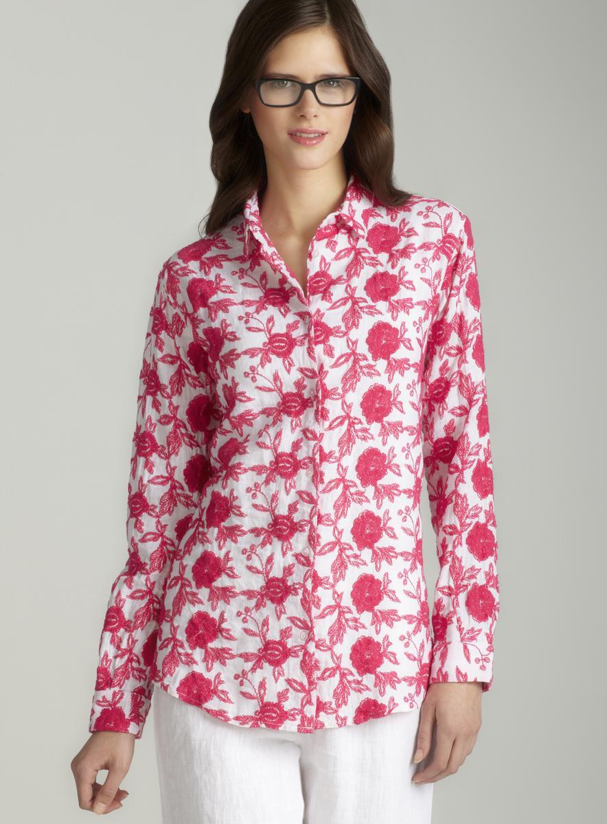 120% Lino Basic blouse in fuschia