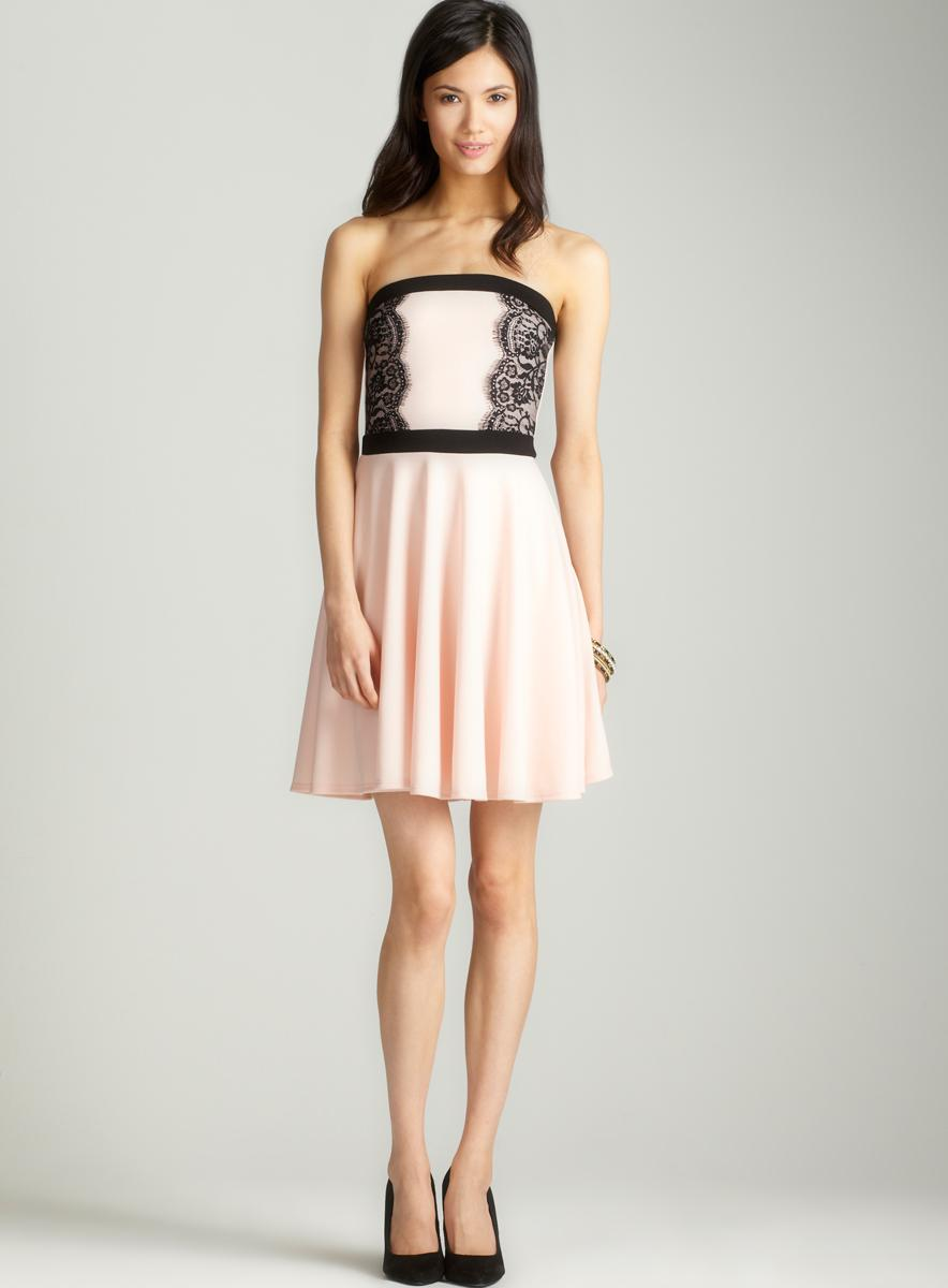 Soprano Strapless lace trim dress