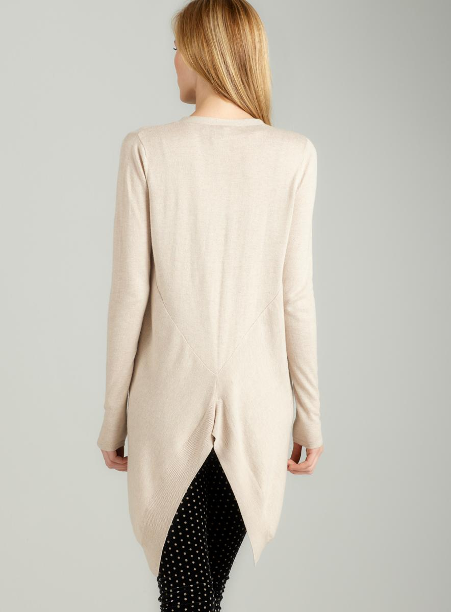 Joan Vass New York Snap front cardigan in beige - Thumbnail 1