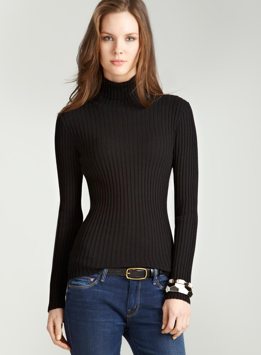 Tracy M Rib turtleneck in black