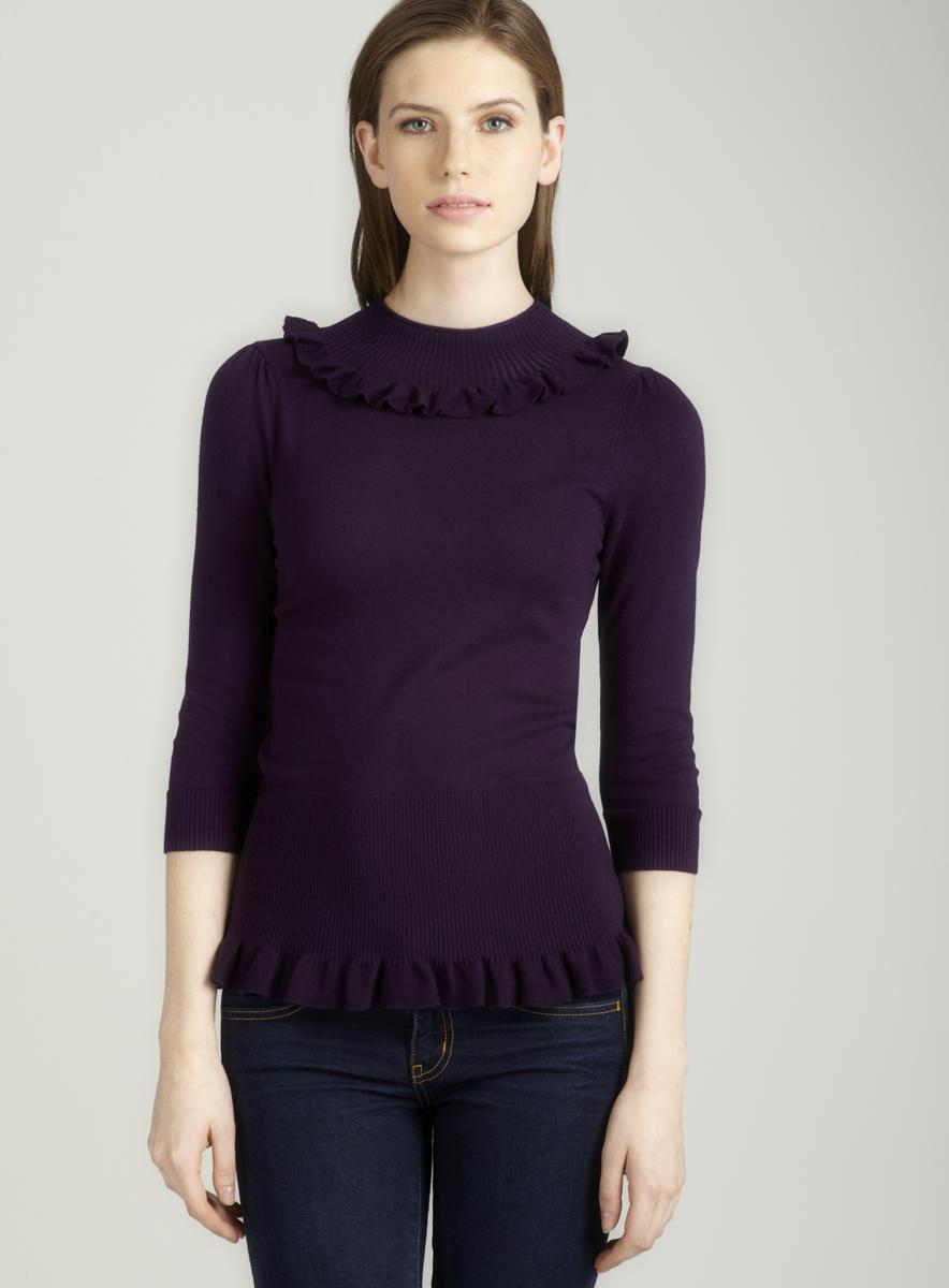 Tracy M Ruffle trim zip back in purple