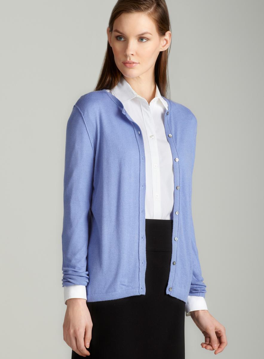 August Silk Exposed seam cardigan in blue