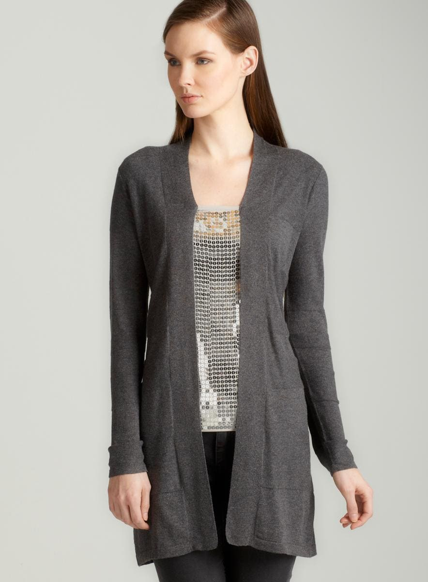 August Silk Shawl collar cardigan in grey