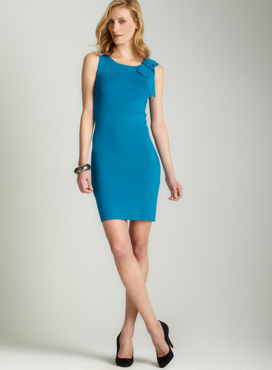 Carmen Marc Valvo Sheath dress with bow detail - Thumbnail 0