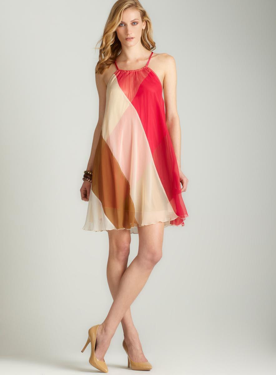 Free People Chiffon colorblock swing dress