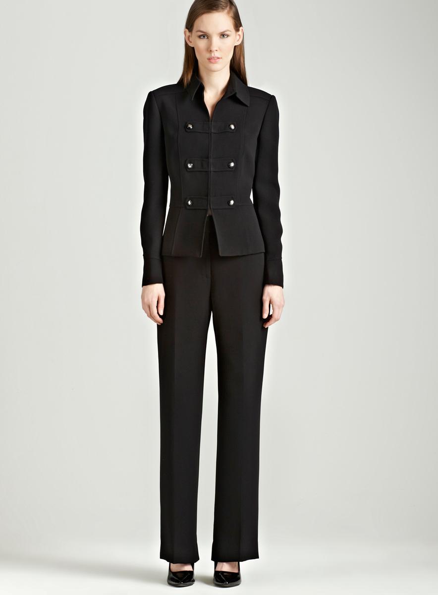 Tahari Black pants suit with seaming