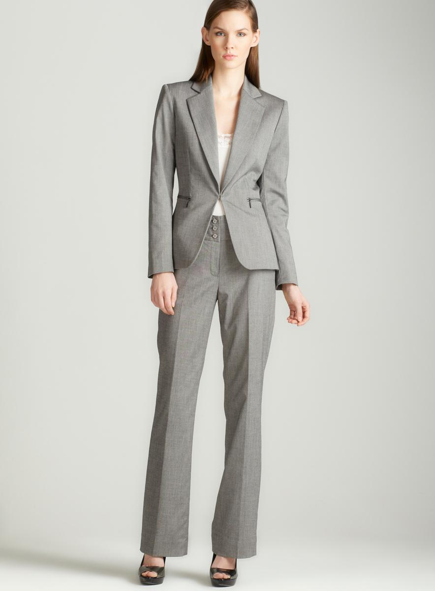 Amazing A Fully Lined Black &amp Grey Womens 2 Piece Pants Suit Size 24w Never Worn Pants Inseam Is 29&quot 96% Woollana, 4% Lycra SpandexHarve Benard, Pour La Femme, By Benard Hotlzman Bottom Of Jacket Has A 4 12&quot Approx Grey