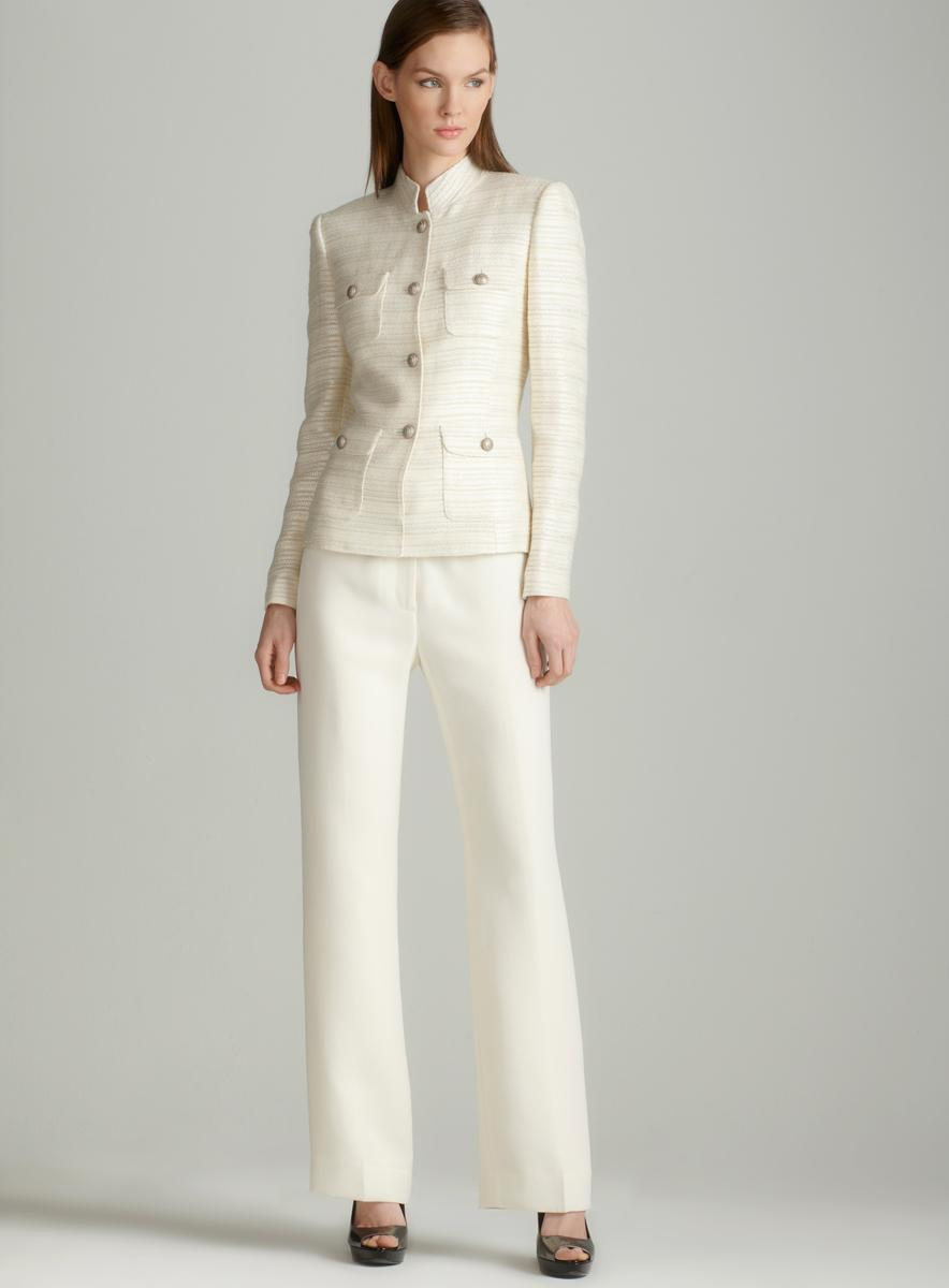 Tahari Ivory novel pants suit