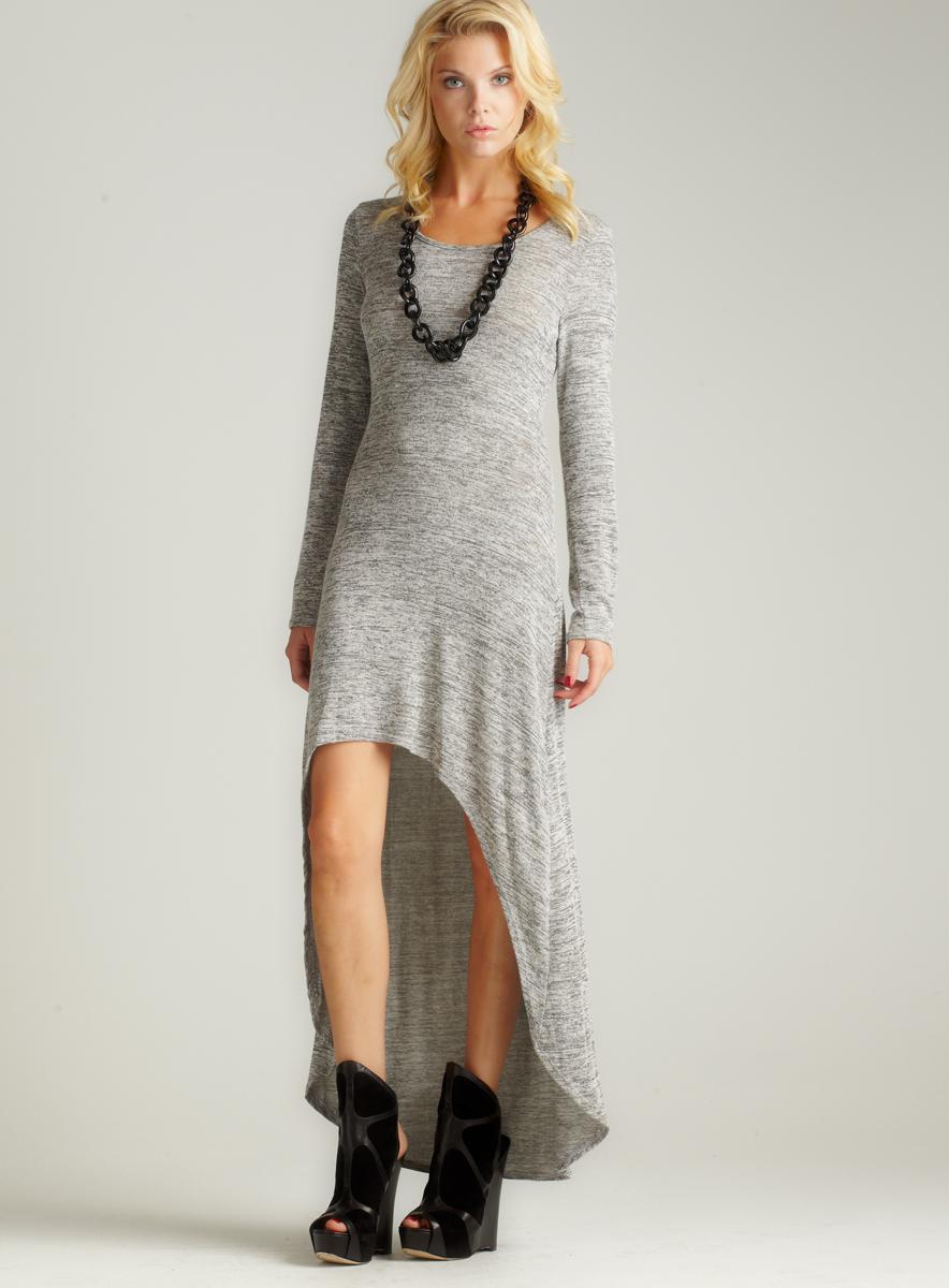 Romeo & Juliet Couture Long Sleeve Hi-Lo Maxi Dress