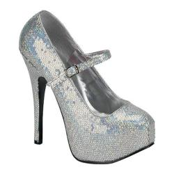 Women's Bordello Teeze 07H Silver Hologram Sequins