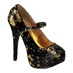 Women's Bordello Teeze 07SQ Black/Gold Sequins