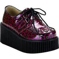Women's Demonia Creeper 208 Purple Cheetah Glitter