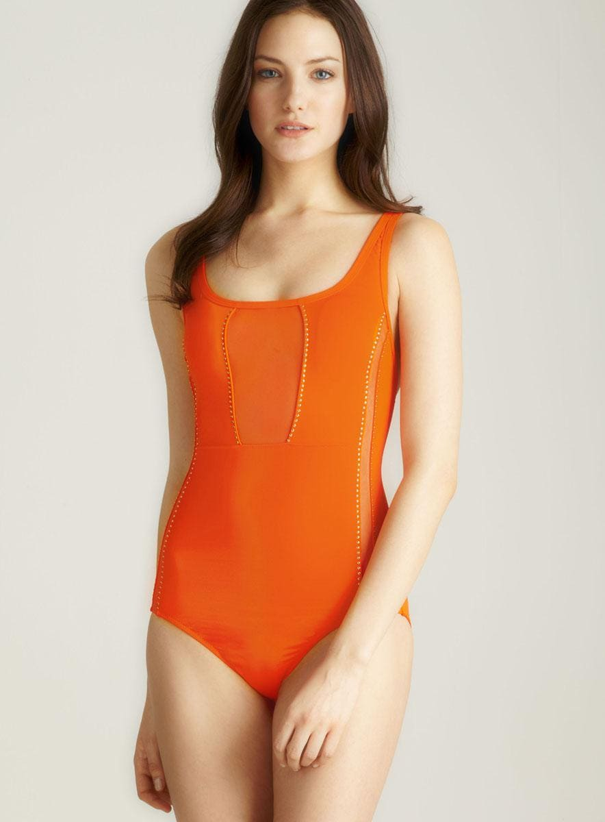 Red Carter Barbarella Mesh & Grommet One Piece