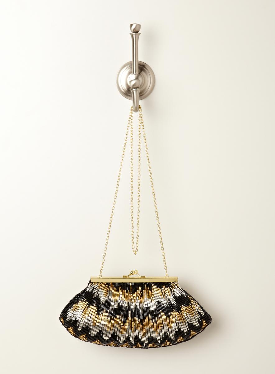 Touch Of Nina Beaded Chevron Stripe Clutch