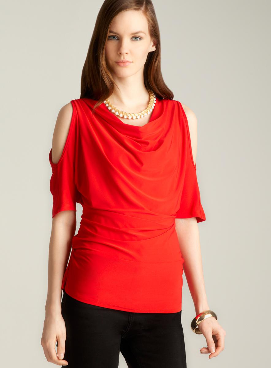 For Cynthia Cold Shoulder Drape Neck Blouse