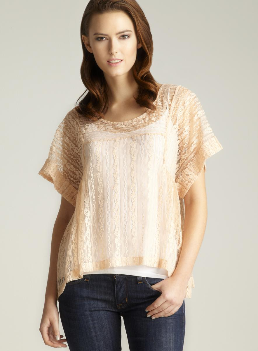 Free People Sheer Lace Blouse