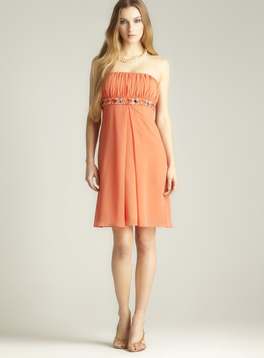 JS Boutique Chiffon Beaded Waistband Dress