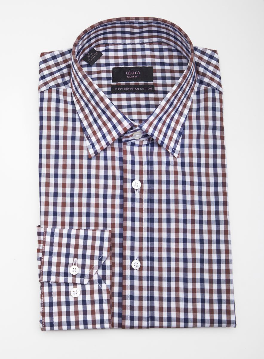 Alara Mens Blue Brown Checkered Dress Shirt