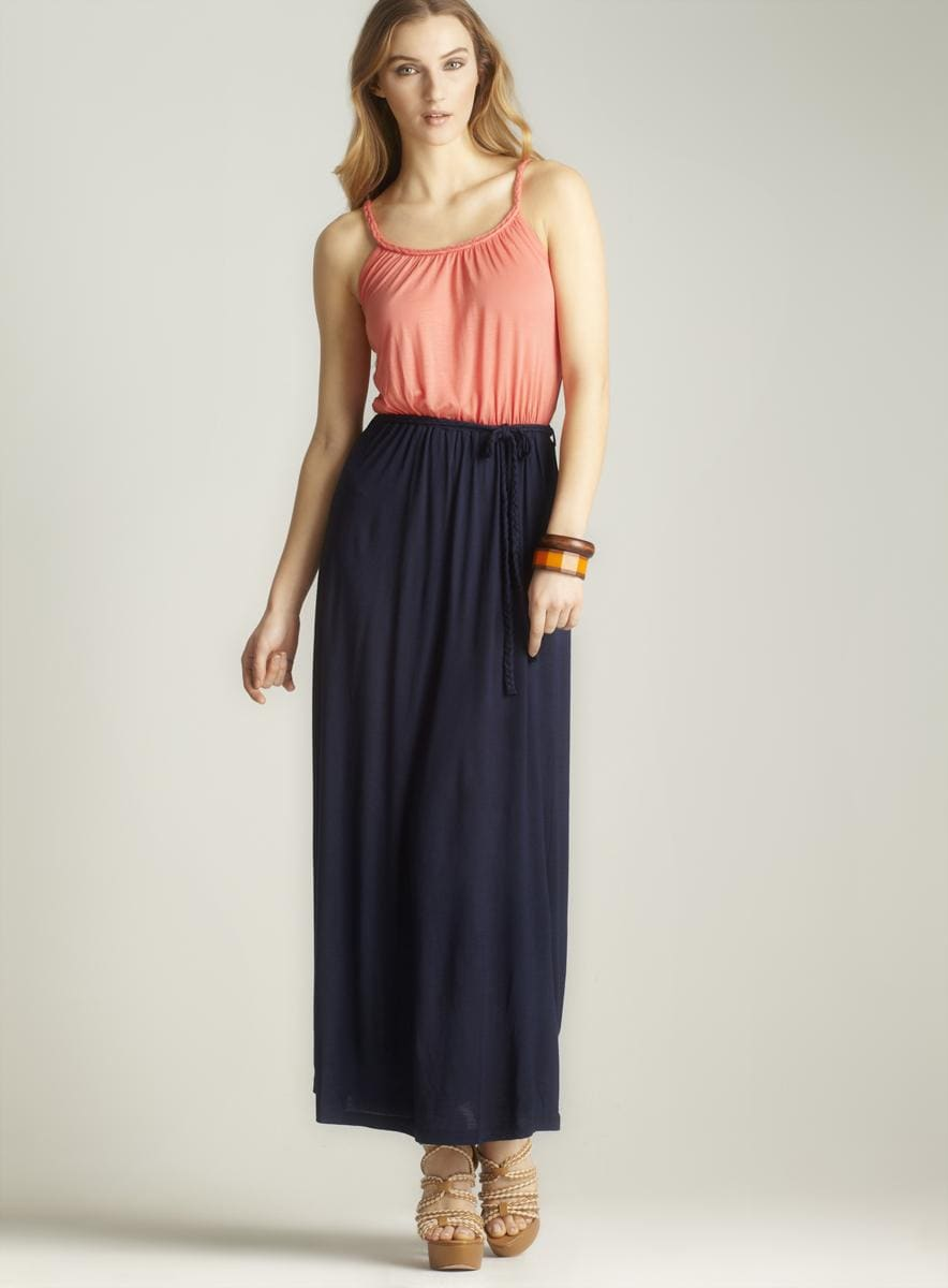 Pink Rose Braided Belt Maxi Dress