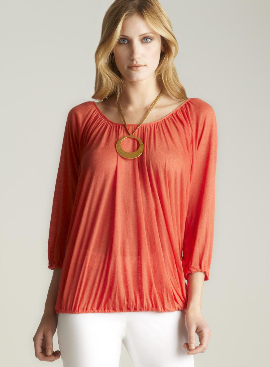 120 Lino Ruched 3/4-sleeve Blouse