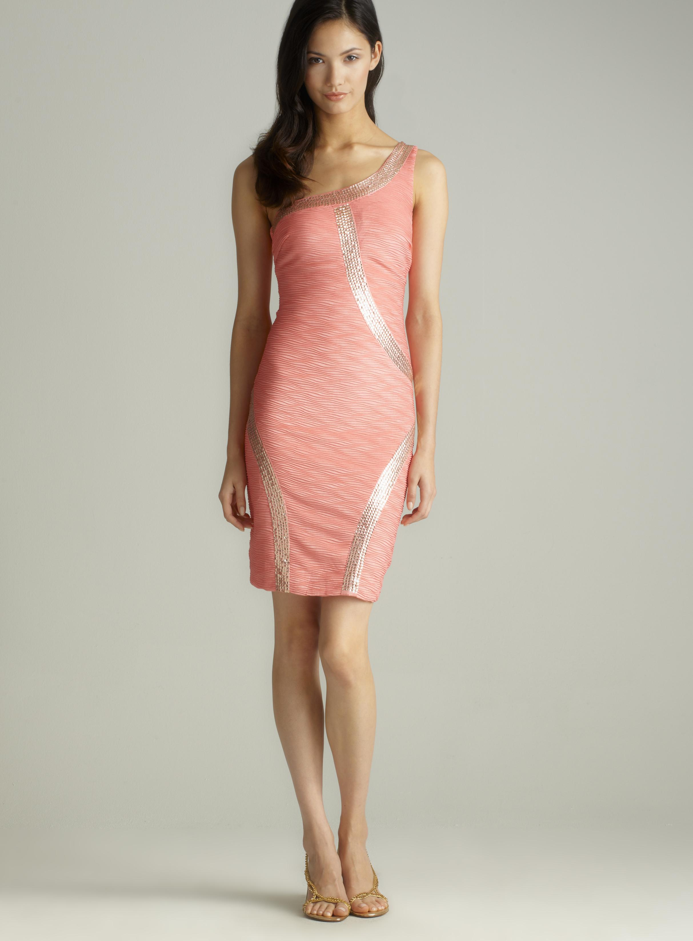 ROMEO&JULIET COUTURE 1 shoulder bead trim dress