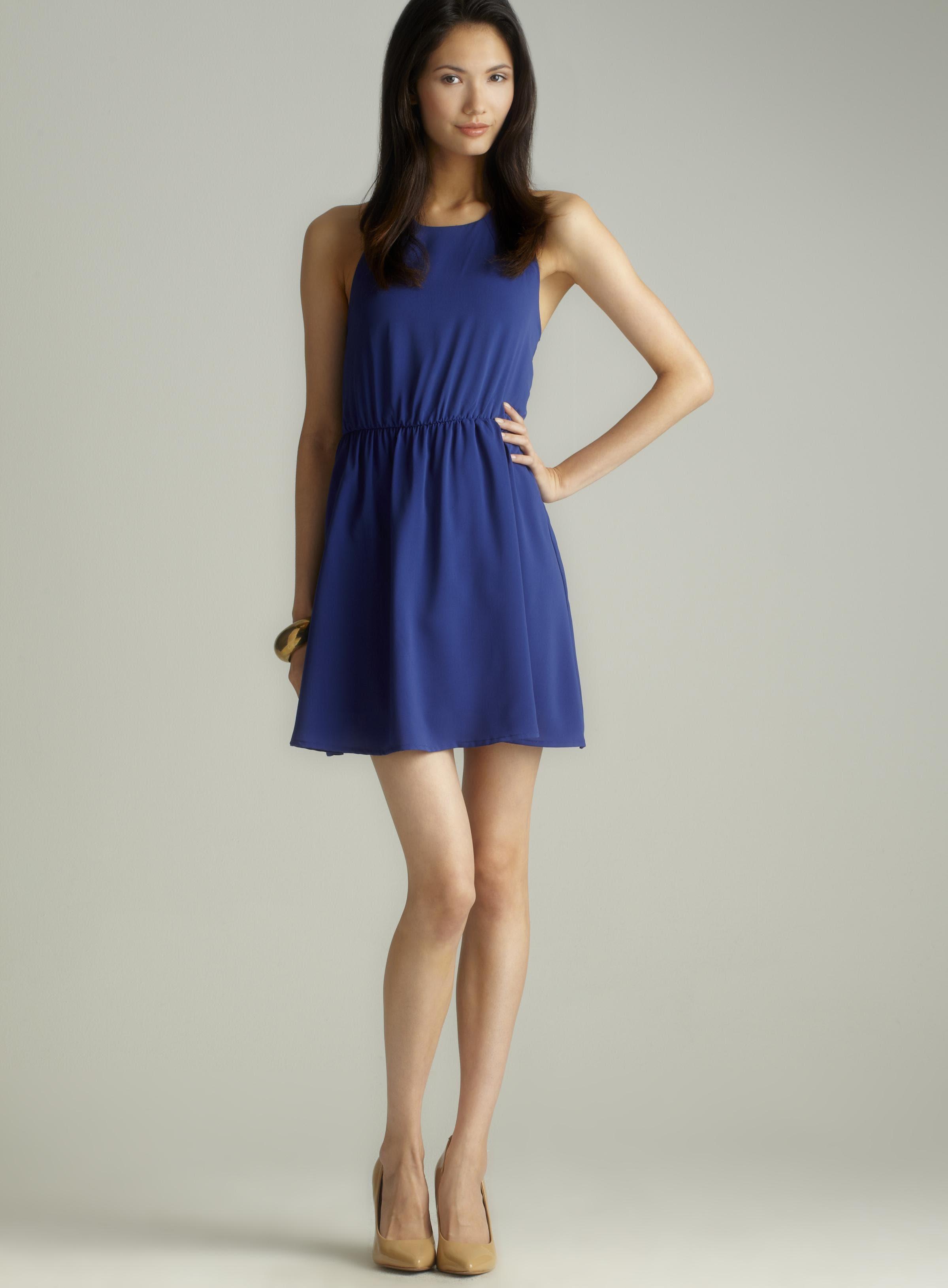 Freebird S/l cutout back pleated dress