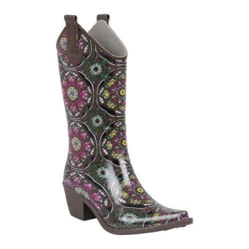 Women's Hailey Jeans Co. Floral Print Cowboy Rainboots Maroon