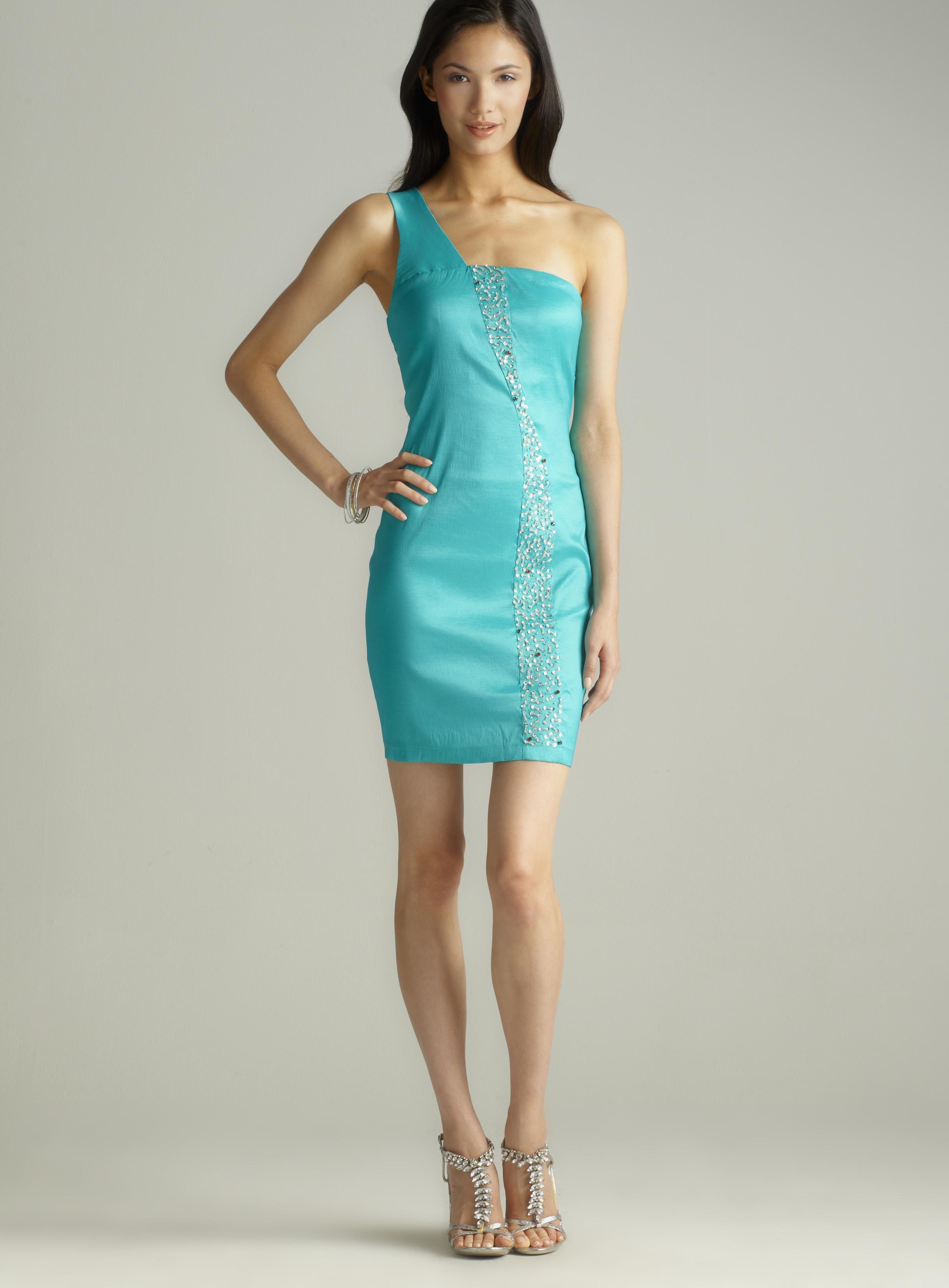 ROMEO&JULIET COUTURE One shldr sequin stripe dress