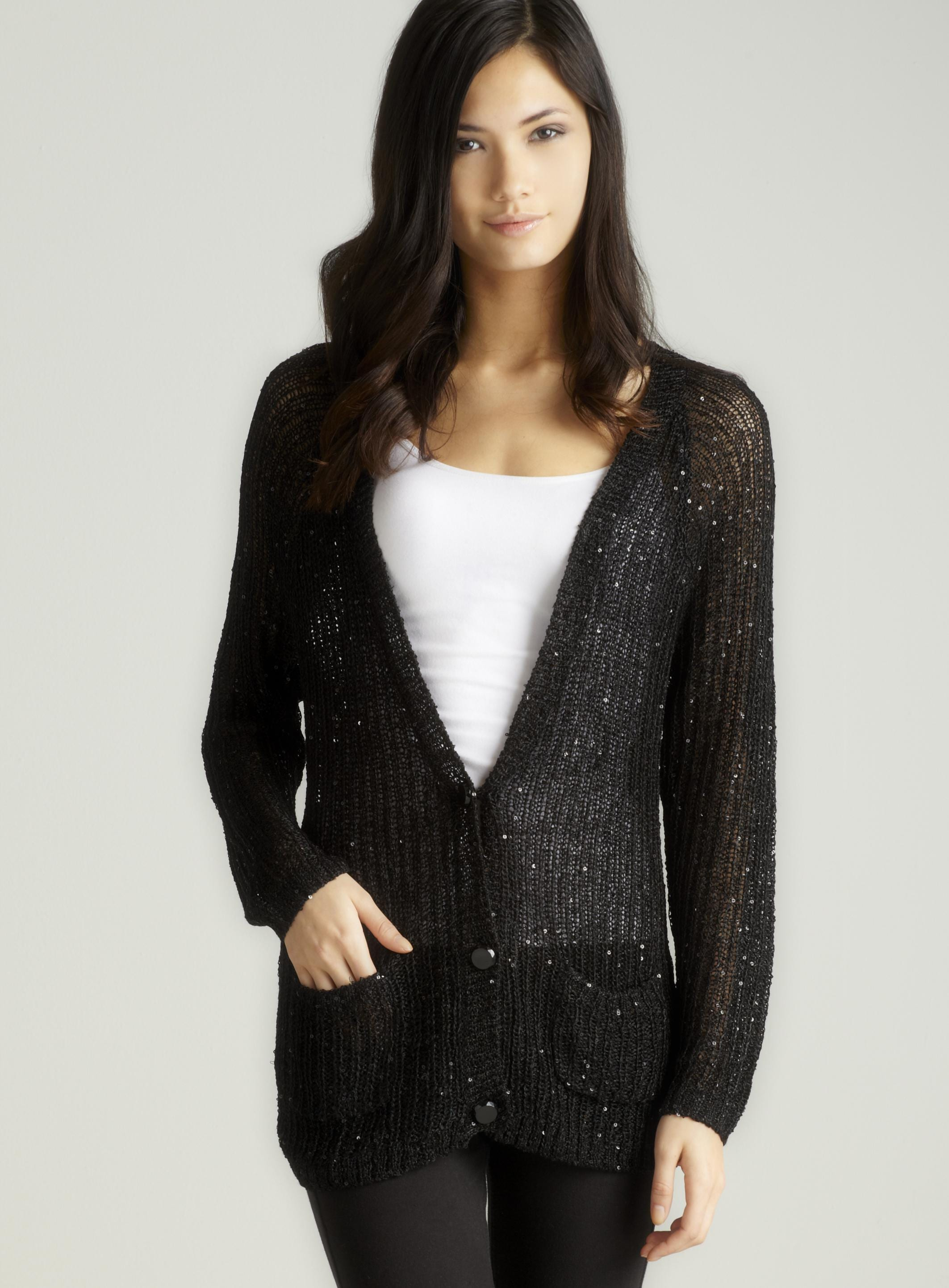 Vertigo Two btn sequin cardi in black