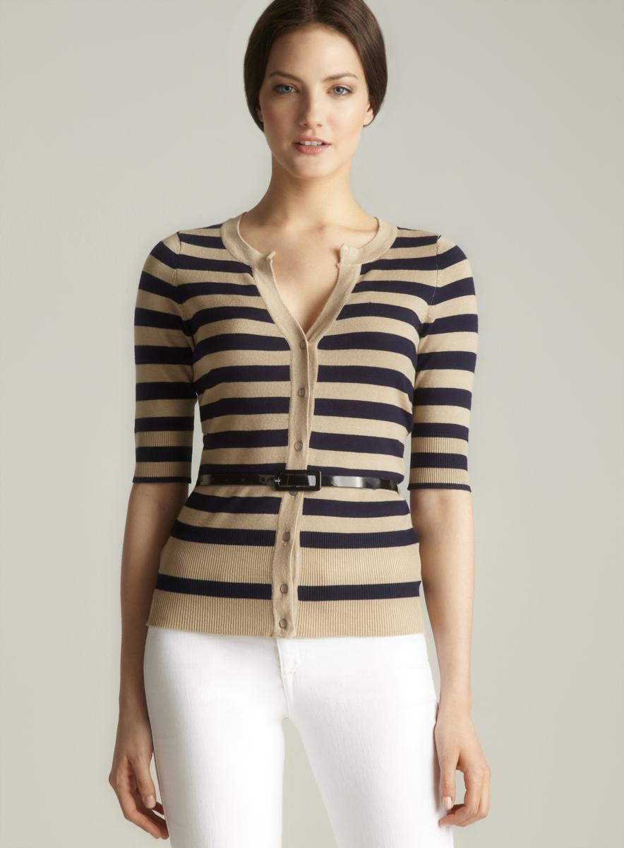 Red Striped Belted Cardigan