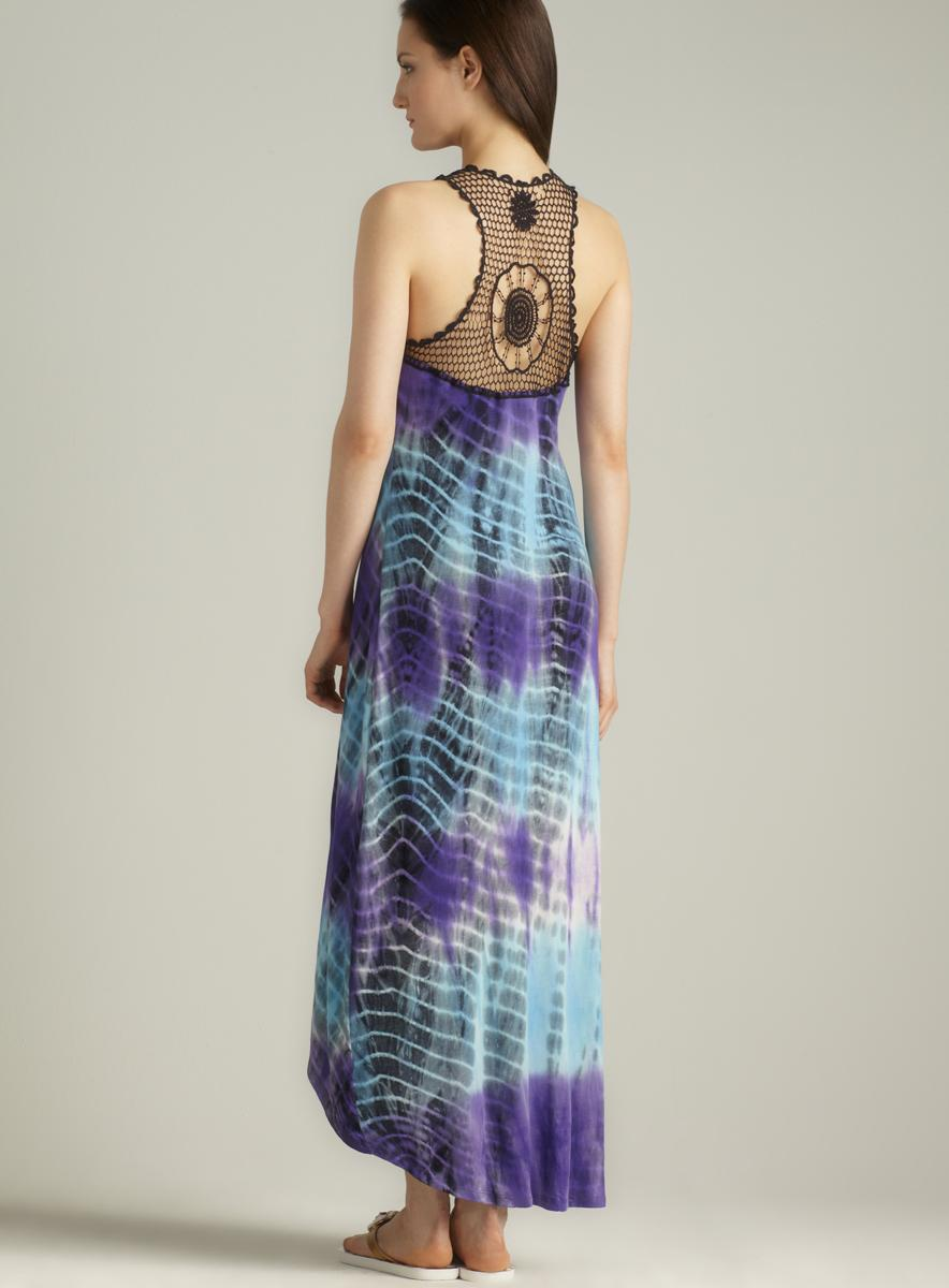 Club Z Collection Crochet Back Hi-lo Maxi Cover-up - Thumbnail 1