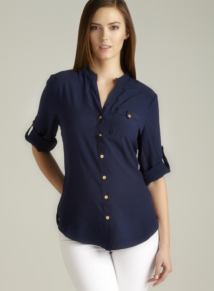 Spense Mandarin Collar Tab Sleeve Button Down
