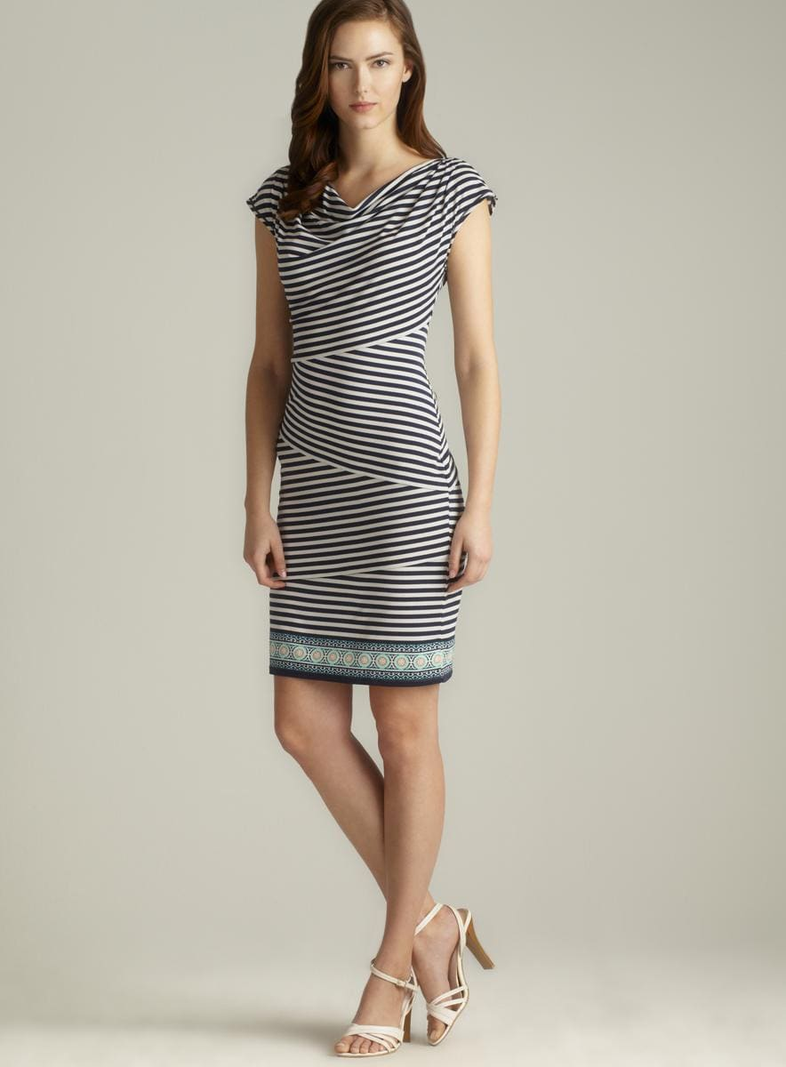 Max Studio Draped Neck Striped Jersey Dress