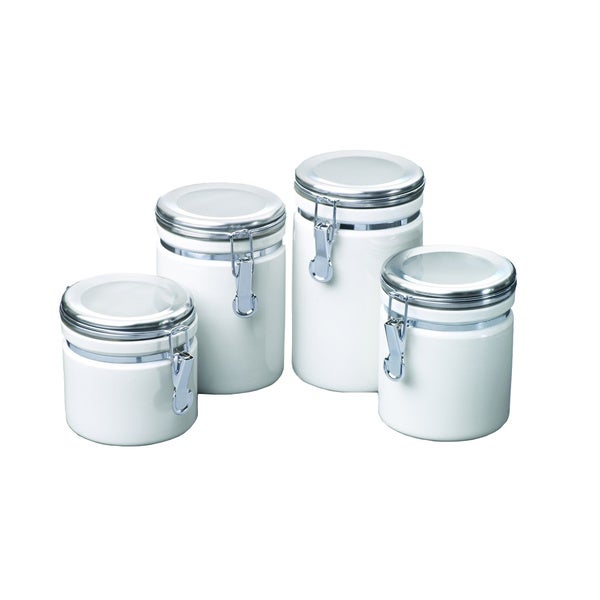 Kitchen Canisters Ceramic Sets: Shop White Ceramic Canister Set Of 4