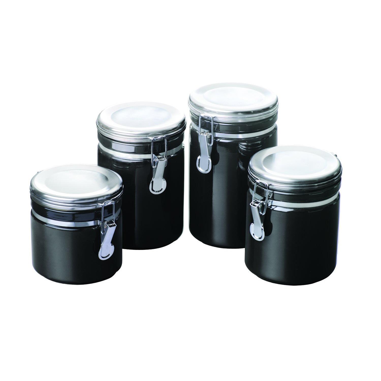 superior Black Kitchen Storage Jars Part - 1: Black Canister Set 4 Piece Ceramic Coffee Sugar Tea Flour Jars Kitchen  Storage