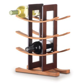 bamboo 12bottle wine rack espresso accent