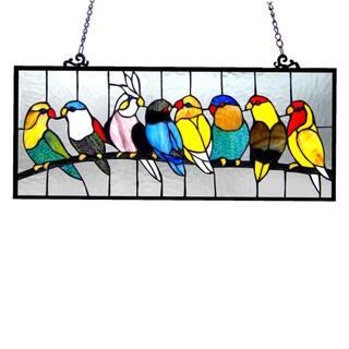 Chloe Birds Design Art Glass Window Panel with Bronze Finish