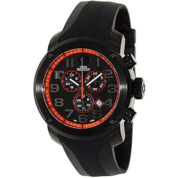 Swiss Precimax Men's Marauder Pro Sport Black-Rubber Black-Dial Stainless-Steel Swiss Chronograph Watch