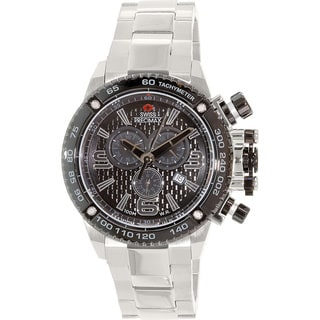 Swiss Precimax Men's Forge Pro SP13246 Silver Stainless Steel Black Dial Swiss Chronograph Watch