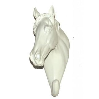Crown Lighting White Ceramic Horse Head Hook (Set of 2)