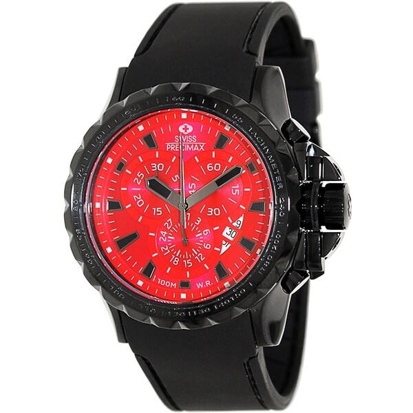 Swiss Precimax Men's 'Command Pro Sport' Black/ Red Swiss Chronograph Watch