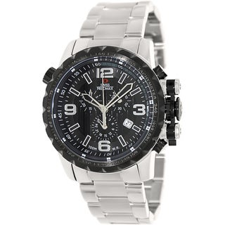 Swiss Precimax Men's 'Magnus Pro' Stainless Steel Black Dial Swiss Chronograph Watch