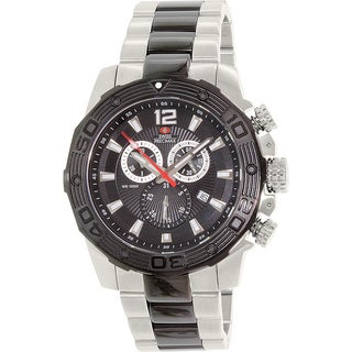 Swiss Precimax Men's 'Legion Pro' Two-Tone Stainless Steel Black Dial Swiss Chronograph Watch