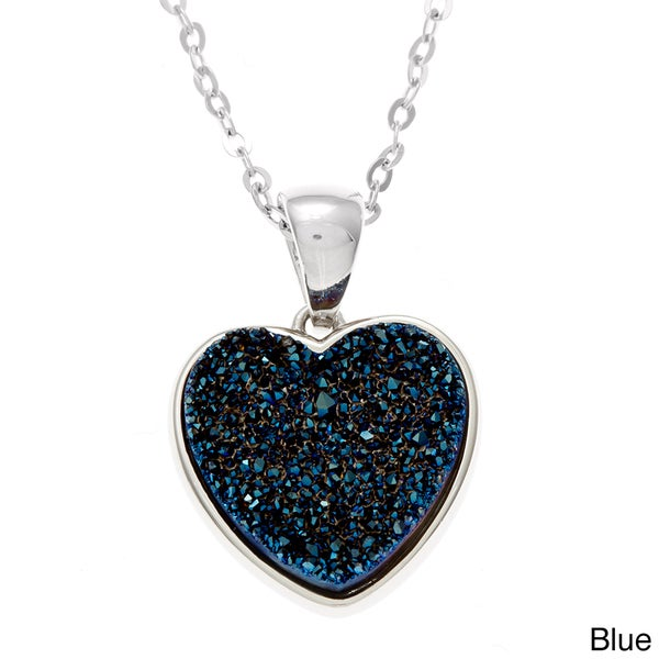 La Preciosa Sterling Silver Druzy Heart Necklace