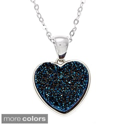 La Preciosa Sterling Silver Druzy Heart Necklace