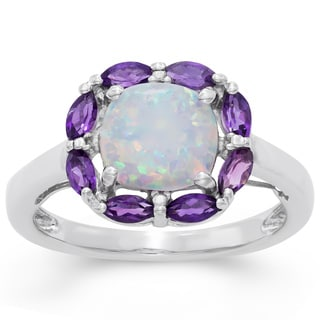 Gioelli Sterling Silver Created Opal and Amethyst Ring