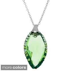 La Preciosa Sterling Silver Cubic Zirconia and Colored Crystal Necklace